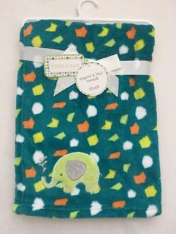 Baby Plush Blanket Shower Gift Soft Blankie 30x30 Green, Ele
