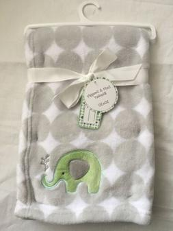 Baby Plush Blanket Shower Gift Soft Blankie Gray, Green Elep