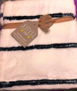 Levtex Baby Plush Blanket WHITE w/ DARK STRIPES BAILEY NEW G