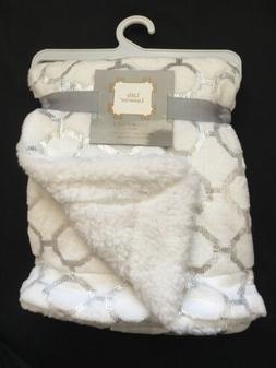 Baby Plush Sherpa Blanket Shower Gift Soft Infant White Silv
