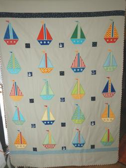 Baby quilt, bed cover, sailing boat blanket