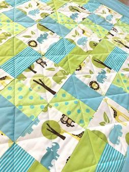 "Handmade Baby Quilt Patchwork X-LARGE  44' X 44"" Jungle Anim"