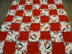Handmade baby rag blanket cute winter snowflake penguin red