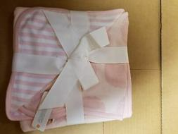 Gymboree Baby Receiving Blanket 30x30 pink Dot striped/ 2 si