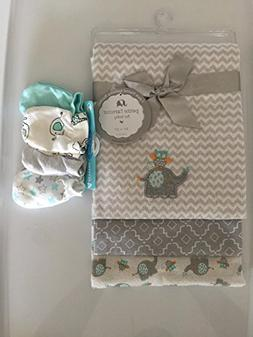 Baby Receiving Blanket and Mittens Gift Set Elephant & Owl 3