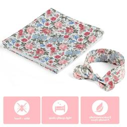 Baby Receiving Blankets for Girls, Newborn Wrap Floral Print