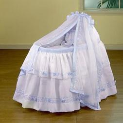 """BabyDoll Baby Regal Liner/Skirt & Hood with Blue Trim, 15"""" x"""