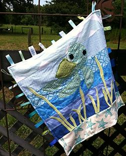 Baby Sea Turtle ~ Ribbon Baby Blanket with Ribbon Tabs 21in.