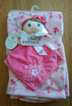Baby Starters Baby Security Blanket Set Doll Flowers Pink Lo