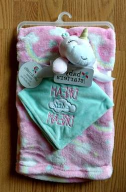 BABY STARTERS Baby Security Blanket Set Unicorns Rainbows In