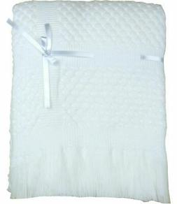 BabyPrem Baby Shawl Boys & Girls White Ribbon Blanket Wrap N