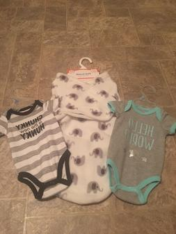 Baby Shower Boy Swaddle Blanket 0-3 M 2 Outfits and 1 Blanke