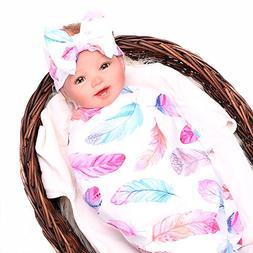 Baby Sleep Swaddle Blanket Large and Bow Headband Set Ananas
