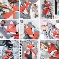 Baby Soft Crochet Blanket Toddler Bedding Fox Knitted Blanke
