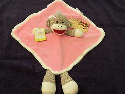 BABY STARTERS SECURITY BLANKET SOCK MONKEY PINK SNUGGLE BUDD