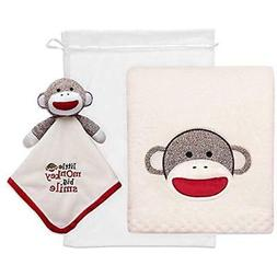 Baby Starters Toddler Blankets 2-Piece Sock Monkey Snuggle B