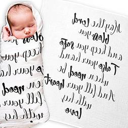 Baby Swaddle Blanket with Baby Quote - Muslin Swaddle Wrap w