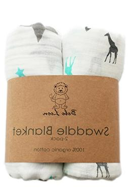 Baby SWADDLE BLANKET   Muslin Blanket   Organic Cotton   2 P
