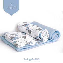 Little Sleepy Head Baby Swaddle Blanket Set - Blue Skies - 2