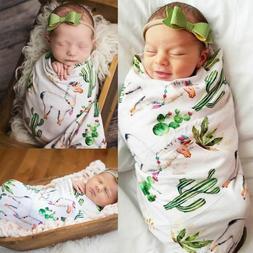 Baby Swaddle Blanket Sets Muslin Wrap Alpaca Cactus Printed