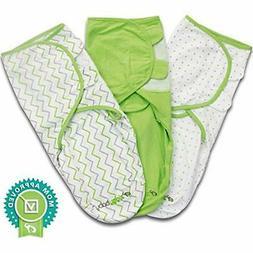 Baby Swaddle Blanket Wrap Set  Green, Grey Chevron, Dot, Sol