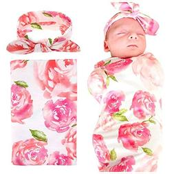 EP.Queen Baby Swaddle Blanket Wraps with Headband, Newborn R