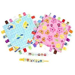 LAIMALA Baby Teething Cloths Blanket With 2 Pacifier Clips,