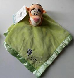 baby tigger orange green satin security blanket