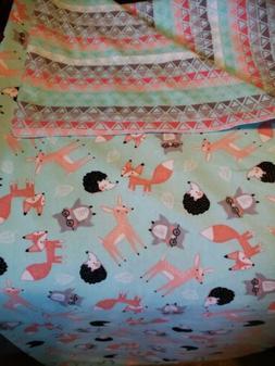 Handmade Baby/toddler Blanket double Flannel fox, owls, Forr
