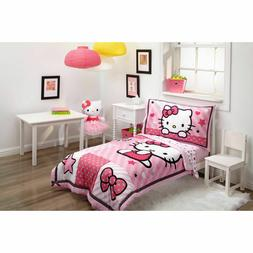 Hello Kitty Baby Toddler Kid 4pieces Bed Set Quilt Flat Fitt