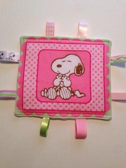 Baby Toddler Taggie Sensory Ribbon Security Blanket Snoopy