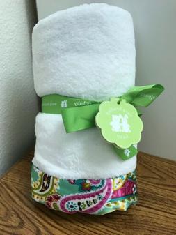 Vera Bradley Baby White Blanket Green Paisley Satin Trim Tut