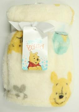 "Disney Baby Winnie the Pooh Plush Baby Blanket 30 x 36"" NEW"