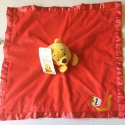 Disney Baby Winnie The Pooh Red Satin Security Blanket Lovey