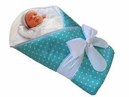 BundleBee Baby Wrap Swaddle Blanket, Feather Light Aqua Polk
