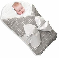 BundleBee Baby Wrap/Swaddle/Blanket, Feather Light/Grey Polk