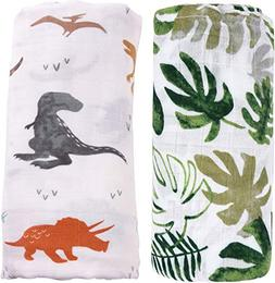 "Bamboo Muslin Swaddle Blankets for Boys - 2 Pack""Dinosaur &"