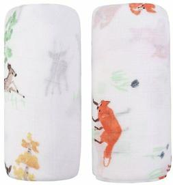 Bamboo Muslin Swaddle Blankets - 2 Pack Fox & Deer - Softest