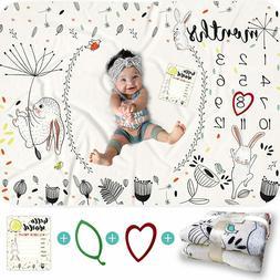 BANANGO Baby Monthly Milestone Blanket Girl or Boy - 50 x 40