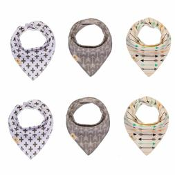 Baby Bandana Drool Bibs for Boys & Girls Unisex 6-Pack Gift