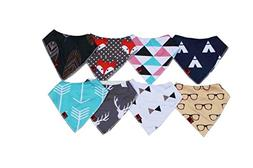 Mochi Baby Bandana Drool Bibs 8-Pack Set, 100% Cotton, Doubl