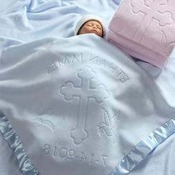 Baptism or Christening Baby Blanket Gift, Personalized Girls