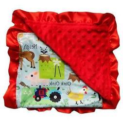 Barn & Farm Red Minky Dot Blanket for Baby, Toddler, Boy, Gi