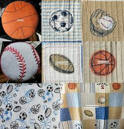 BASEBALL  BASKETBALL   SPORTS  6pc TWIN QUILT  SHEETS  THROW