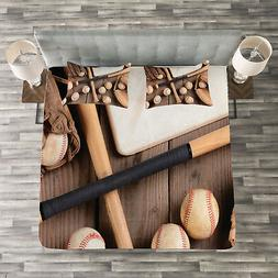 Baseball Quilted Bedspread & Pillow Shams Set, Bats Balls an