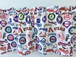 "Baseball Teams MLB Logos on White Sports Valance 42"" x 14"""