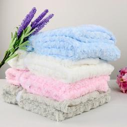Bassinet Soft Fleece Newborn Baby Blanket Rose Design Beddin