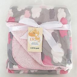 Bassinet Soft Warm Fleece Newborn Baby Blankets Cartoon Bedd