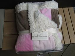 BC Koala Baby brown Pink Patchwork Baby Blanket Sherpa cream