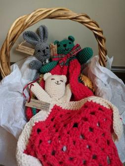 Bear, Bunny crochet Snuggly/ Lovey/Security Blanket. Handmad